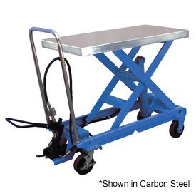 Stainless Steel Pneumatic-Hydraulic Mobile Scissor Lift Table 1000 Lb. Capacity