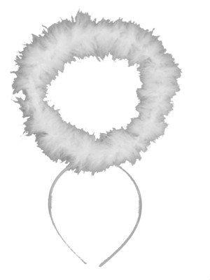 White Silver Feather Fancy Dress Saint Angel Snow Fairy Alice Band Halo