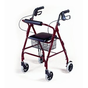4-wheel Folding Rolling Walker with Shopping Basket, Padded Seat and Dual Hand Brakes