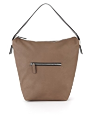 Front Zip Pocket Bucket Hobo Bag