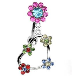 Multi Swarovski Crystal Flower Heart Reverse Belly Bar