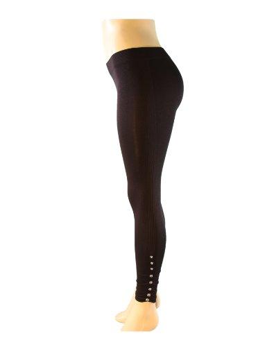 Sexy Stretchy Elegant Bottom Gem-Studded Leggings (Black)