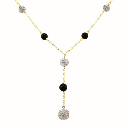 Bonded 14k Gold and Silver Crystal and Onyx Bead Y-Shaped Necklace, 18