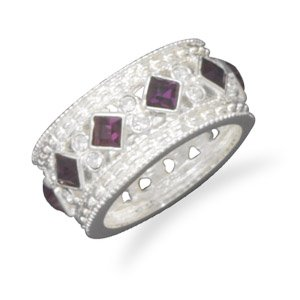 Purple Glass and Clear CZ Fashion Ring / Size 9