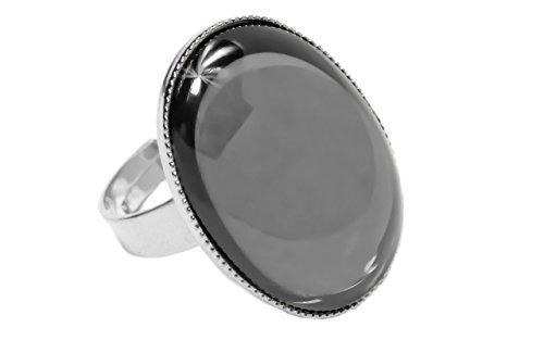 In Argento 925 Placcato Anello Classico Universale Regolabile Dimensioni Ovale 25mm x 18mm Ematite Argento ceca Pietra di Vetro fatti a Mano BohemStyle