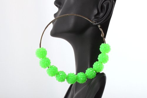 Neon Green Shamballah 3 Inch Hoop Earrings with 5 Disco Balls and 4 Iced Out Rondelle Loops Basketball Mob Wives Lady Gaga Poparazzi