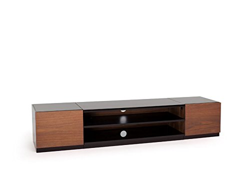 TECHLINK SR175BW Stoore High Gloss Black TV Stand with Walnut Real Wood Veneer Doors for Screens up to 84-Inch