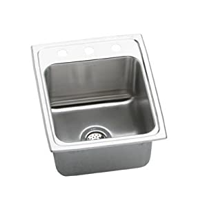 """Gourmet 17"""" x 20"""" x 10.13"""" Top Mount Kitchen Sink Faucet Drillings: MR2 Hole"""