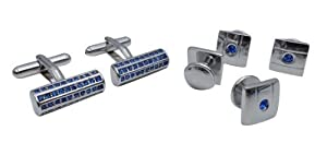 Cufflinks and Studs Set Unique Set with Embedded Blue Crystals by Men's Collections (cs6)