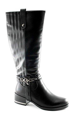 LAURA BIAGIOTTI 1767-1 nero stivale donna zip elastico tacco 40