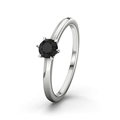 21DIAMONDS Women's Ring San Antonio Black Round Brilliant Cut Diamond Engagement Ring - Silver Engagement Ring