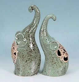 Porcelain Elephant Figurine Set Of 2