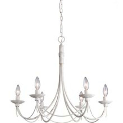 Artcraft Lighting AC1486AW Wrought Iron Six-Light Chandelier, Antique White