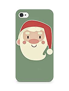 Amez designer printed 3d premium high quality back case cover for Apple iPhone 4 (Cute Santa Claus Minimal Illustration)