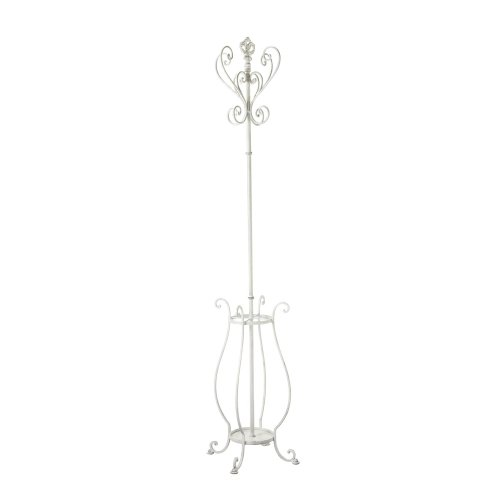 Midwest-CBK Distressed White Fleur De Lis Coat Rack with Umbrella Stand Base