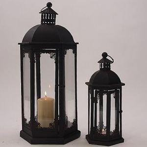 laterne aus metall rabuti in schwarz rost 2er set garten. Black Bedroom Furniture Sets. Home Design Ideas