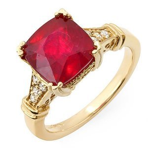 5.0 ct natural ruby and diamond Ring 14k gold