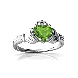 14K White Gold Heart Genuine Peridot Celtic Claddagh Ring