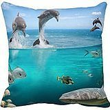 X-mas Marine Wildlife Throw Pillow Case Cushion Covers Merry Christmas Decorative Square 18x18 Inches two side