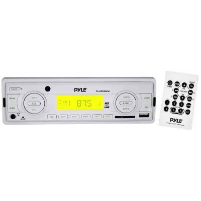 Pyle Plmr89Ww Marine Flash Audio Player - 160 W Rms - Single Din Lcd Display - Mp3 - Am Fm - 18 12 X Fm Am Preset - Secure Digital (Sd) Card Multimediacard (Mmc) - Usb - Auxiliary Input - Detachable Front Panel front-1032405