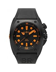 Bell and Ross Marine Black Dial Orange Index Rubber Mens Watch BR0292-ORANGE