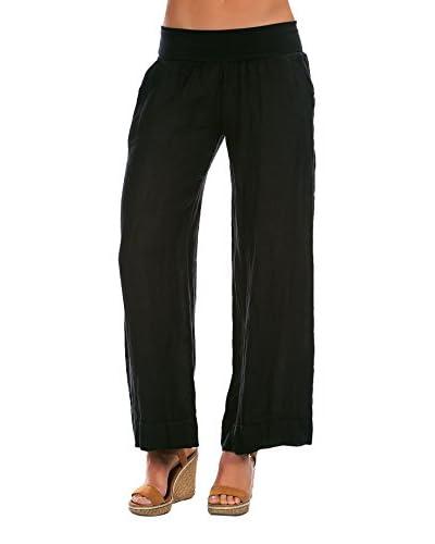 100% Lino Bleu Marine Pantalone Corinne