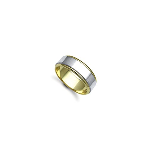 6mm - 9ct Yellow Gold/White Gold Fancy Wedding Band Ring