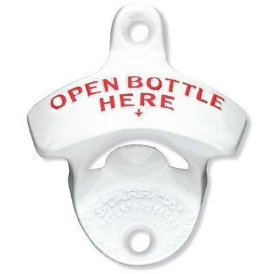 "White Open Bottle Here STARR ""X"" Wall Mounted Bottle Opener"