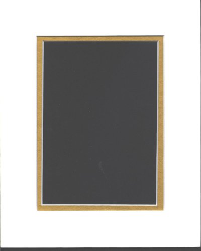 pack-of-10-8x10-white-gold-double-picture-mats-mattes-matting-cut-for-5x7-pictures