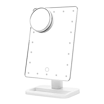 Best Cheap Deal for Ovonni 10X Magnifier LED Touch Screen Makeup Mirror Portable 20 LEDs Lighted Make-up Cosmetic Mirror Adjustable Vanity Tabletop (L207A White) from Ovonni - Free 2 Day Shipping Available