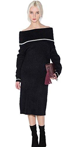 Moda Spalle Scoperte dettagli piegati Midi Dritto Sheath Maglione Maglia Dress Vestito Abito Nero Bianco M
