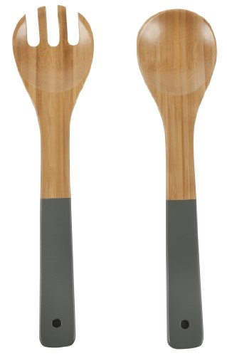 Core Bamboo Contemporary Salad Servers, Slate, Large
