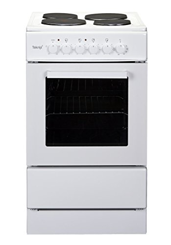 Teknix TK50SEW White 50cm Single Oven Electric Cooker With 4 Solid Plate Hob
