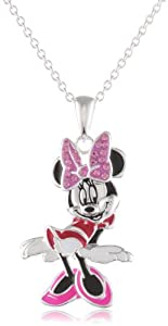 Disney Minnie Fine Silver Plated Crystal Bow and Enamel Pendant Enhancer
