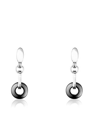 CERAM BY ART DE France Pendientes Circle Negro