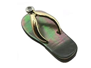 Black Mother Of Pearl Flip-Flop Single Diamond Strap Sandal, 14k Gold