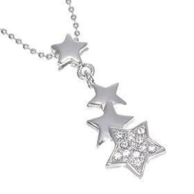【スター モチーフ 】愛らしい 流れ星 デザイン スター パヴェ ポラリス ネックレス(シルバーカラー)