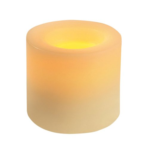 Inglow CGT54300CR01 Flameless Round Pillar Vanilla Scented Candle with Timer, 3-Inch Tall, Cream