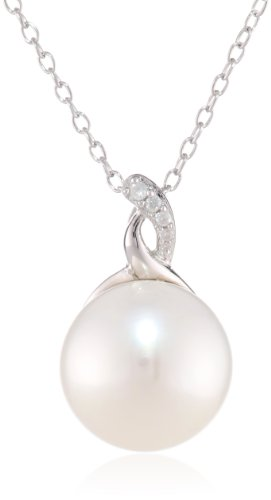 Sterling Silver 12.0-12.5Mm Freshwater Cultured Pearl and Diamond Pendant Necklace (0.03 Cttw, G-H Color, I3 Clarity), 18