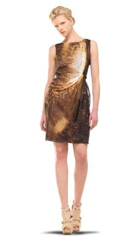 MAXSTUDIO PRINTED CHIFFON DRESS BROWN GALAXY, 4