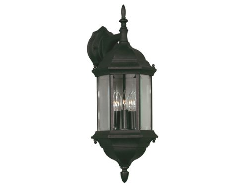 Kenroy Home 16267BL Custom Fit 5-In-1 3-Light Wall Lantern, Black