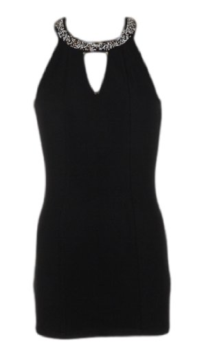 Sexy Catch Me Little Black Dress with Beaded Accenting at the Collar (Small)