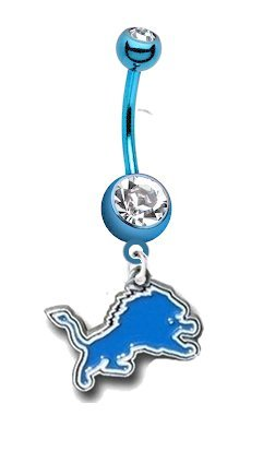 Detroit Lions NFL PREMIUM Light / Baby Blue Titanium Anodized Sexy Belly Button Navel Ring at Amazon.com