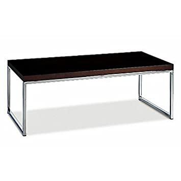"44"" x 22"" Wall Street Coffee Table (White Top/Chrome Base)"