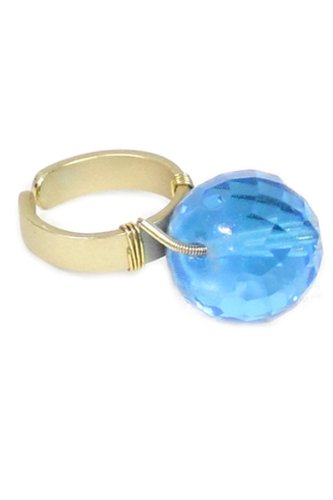 Trendy Fashion Jewelry Colored Crystal Rock Adjustable Ring By Fashion Destination | (Blue) front-169943