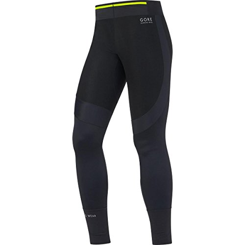 GORE RUNNING WEAR, Tights Corsa Uomo, Ultraleggeri, Materiale tecnico, GORE WINDSTOPPER, FUSION GWS, Taglia S, Nero, TWSFUS990003
