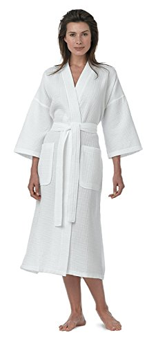 Pure Linen Turkish Waffle Kimono Style Adult Unisex Bathrobe, 100% Pure Turkish Cotton, for Women and Men, Made in Turkey, White, Large