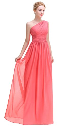 Coral one shoulder long bridesmaid dress