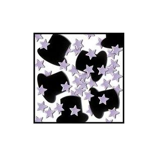 Top Hats and Mini-Stars Confetti - Silver
