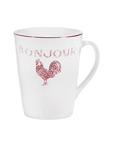 Home Essentials Bonjour Rooster Mug, White/Red